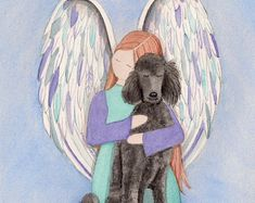 Standard bred black poodle with angel / Lynch signed folk art print