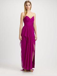 Strapless Silk Chiffon Gown - Lyst