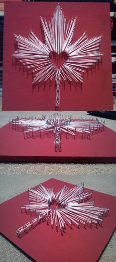 """This is my string art of a maple leaf, as you might have guessed I'm from Canada ;) I just used white embroidery thread, 1 1/2 inch nails, and painted a 12x12"""" corkboard I got a the dollar store."""