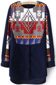 Vestido suelto geométrico manga larga-azul 21.25