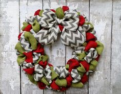 Chevron Burlap Christmas Wreath, Holiday Wreath, Year Round Wreath, Christmas Decor, Front Door Wreath by BurlapBlooms on Etsy https://www.etsy.com/listing/209859233/chevron-burlap-christmas-wreath-holiday