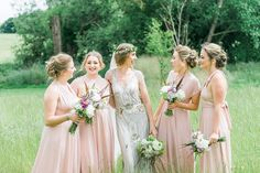 Bridesmaids wear pink deresses for an Outdoor Tipi Wedding   Photography by http://folegaphotography.co.uk/