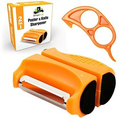 AmaziPro8 2-in-1 Vegetable Peeler   Knife Sharpener, FREE Orange Peeler, FREE 8 Cooking eBooks - Best home kitchen tools for fruits and veggies - kitchen gadgets set for knife sharpening (Orange) ** Be sure to check out this awesome product. (This is an affiliate link) #KitchenUtensilsGadgets
