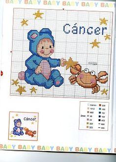 Children's Zodiac: Cancer Baby Free Cross Stitch Pattern