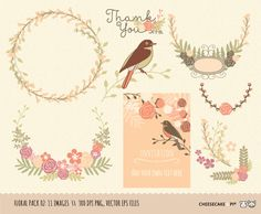 Wedding wreath and floral clip art collection by CheesecakeandPi, $5.90