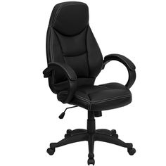 Black Leather Contemporary High Back Office Chair | manhattanhomedesign.com