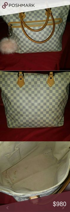 """Authentic Louis Vuitton Damier  """"Saleya"""" Purchased some time ago so has some wear, but in overall good condition with no cuts nor rips. The interior of the bag has been cleaned.  This bag is the largest of its family & it is dead stock so will be in the vintage collection! I was able to locate the receipt, will come w/dust bag as well.  It is authentic as you can see from the wear on the leather and date stamp shown in the pic. The edge of 2 corners of the bag is worn (shown in pic)…"""