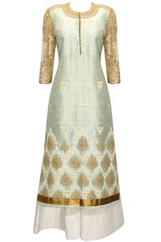 Mint green embroidered straight cut kurta with off white sharara pants available only at Pernia's Pop-Up Shop.