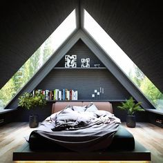 26 Ideas Bedroom Interior Design Inspiration Lights For 2019 A Frame Cabin, A Frame House, New Bedroom Design, Home Interior Design, Modern Interior, Interior Architecture, Kitchen Interior, Tiny House Design, Modern House Design