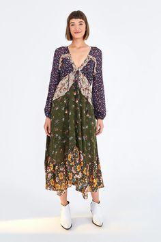 MIXED LIBERTY MIDI DRESS – Farm Rio Maxi Wrap Dress, Ruffle Dress, Beloved Clothing, Tiered Skirts, Dream Dress, Dresses For Sale, Dresses With Sleeves, Farm Rio, Liberty