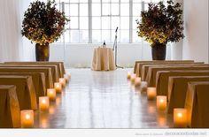 Decoración sencilla y natural de iglesia para bodas