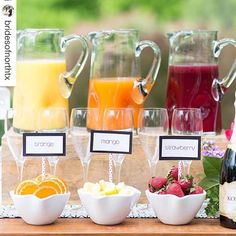 #Repost @bridesofnorthtx with @repostapp. ・・・ Have a mimosa bar at your Saturday brunch wedding! Not only does it add a fun punch of color, but is a great treat for your guests too! // Photo: @benqphotography Styled: @astylishsoireedallas #bridesofnorthtx #brunchwedding #dfwwedding #texaswedding