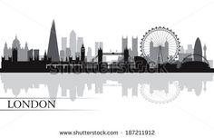 London city skyline silhouette background, vector illustration - stock vector