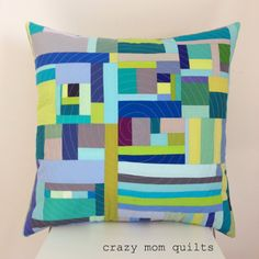 rug pattern idea: odd sized rectangles and squares - crazy mom quilts: just one Patchwork Cushion, Quilted Pillow, Modern Pillows, Decorative Pillows, Green Pillows, Throw Pillows, Pillow Inspiration, Crazy Mom, Quilts For Sale