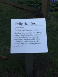 "Luis A. Miranda, Jr. on Twitter: ""As I always do when visiting downtown, I pay my respects 2 @HamiltonMusical Nice 2 see new sign on his son. https://t.co/CNtCQGAt8T"""