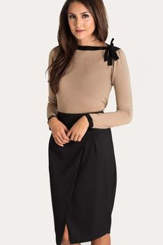 340e72836d142 Audrey Tan Sweater With Black Bow Trim Business Outfits, Business Fashion,  Office Fashion,