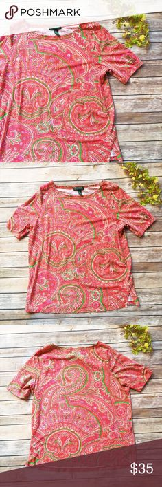 Lauren Ralph Lauren Awesome Plus Size Paisley Top ★ Like new condition.  ★ This lovely paisley pattern short sleeve top from Lauren Ralph Lauren is a plus size gorgeous piece. Beautiful pattern! Soft & stretchy. ★ 96% Cotton || 4% Elastane.  ★ NO TRADES!   ★ NO MODELING!  ★ YES REASONABLE OFFERS! ✅ ★ Measurements available by request and as soon as possible.  Lauren Ralph Lauren Tops