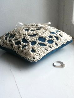 Lacy crocheted wedding ring pillow
