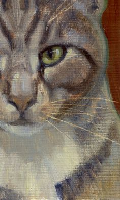 Silver tabby with intense green eyes subject by PoppengaArtStudio, $135.00