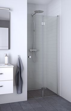 Very practical choice for the small room as the bifold door opens inward into the wet area.