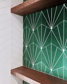 """2,319 Likes, 34 Comments - Cement Tile Shop (@cementtileshop) on Instagram: """"Gotta love the pop of color paired with the chevron tile and the gorgeous open shelving! The in…"""""""