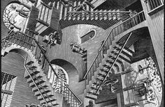 20 Decorating Tips and Ideas for Sprucing up the Stairways of your Home : Mc Escher. Art Optical, Optical Illusions, Op Art, Mc Escher Artwork, Escher Drawings, Tableaux Vivants, Illusion Pictures, Tachisme, Art And Illustration