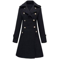 Double Breasted Woolen Long Coat (€50) ❤ liked on Polyvore featuring outerwear, coats, rosegal, double breasted long coat, wool coats, woolen coat, double-breasted wool coat and double-breasted coat