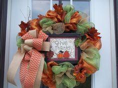 ~ Primitive~Fall~ Door/Wall~ XL Wreath~ Mesh~Give Thanks Sign~Burlap & Chevron Primitive Fall, Fall Door, Door Wall, Give Thanks, Mesh Wreaths, Deco Mesh, Chevron, Burlap, Thankful