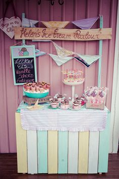 Ice Cream Stall with pastel colors