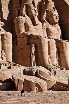Abu Simbel Temple. Pharaoh Ramesses II statues. Egypt.