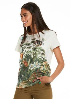 T-shirt print 138995 Maison Scotch Botanical Photo Print T-Shirt