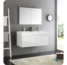 Fresca Mezzo White MDF Wall-hung Double-sink Modern Bathroom Vanity with Medicine Cabinet (Mezzo 60 White Wall Hung Double Sink Vanity), Size Double Vanities Modern Bathroom, Double Sink Bathroom Vanity, Vanity, Vanity Sink, Modern Bathroom Vanity, Bathroom Wall Cabinets, White Wall Hanging, 48 Inch Bathroom Vanity, Bathroom