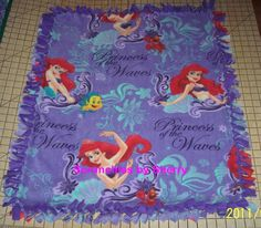 Disney Princess Waves  Little Mermaid Ariel Purple Fleece Baby Girl  Banket Pet Blankie Lap. $21.00, via Etsy.