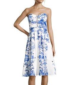 Hayden Blue And White Floral Print Sateen Fit-And-Flare Strapless Dress