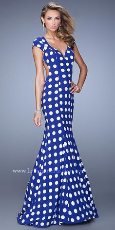 Classic Polka Dot Mermaid Prom Gown by La Femme