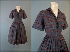 1960s Plaid Floral Shirtwaist Dress 34 bust by dandelionvintage