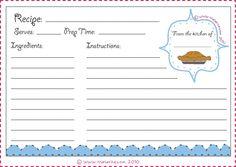 Recipe card book report