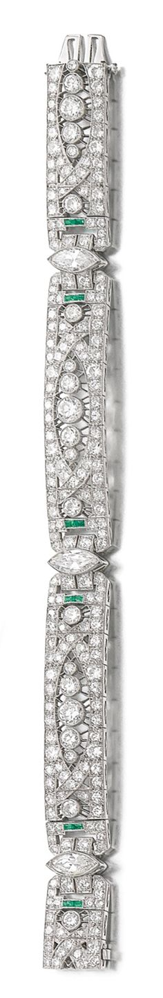 EMERALD AND DIAMOND BRACELET, CIRCA 1920 Pierced and millegrain-set with calibré-cut emeralds, circular-cut and marquise-shaped diamonds, length approximately 175mm. 1920s Jewelry, Art Deco Jewelry, Antique Jewelry, Jewelry Box, Vintage Jewelry, Fine Jewelry, Sparkly Jewelry, Diamond Jewelry, Wedding Bracelets