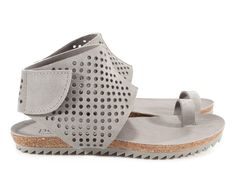 Venus, 'perfed' toe ring sandal in light grey suede. | Pedro Garcia Shoes Spring-Summer 2015 | Made in Spain