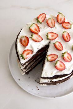 Chocolate, strawberry and cream layer cake