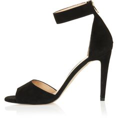 TOPSHOP REES 2 Part Hi Sandals (2,265 HNL) ❤ liked on Polyvore featuring shoes, sandals, heels, topshop, black, kohl shoes, black high heel shoes, black high heel sandals and black shoes