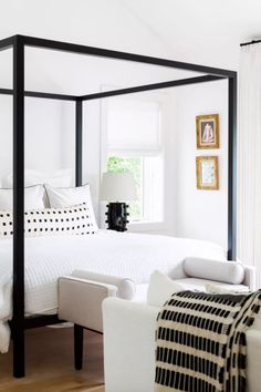 Chalet Cream and Black (limited) : Chalet Ivory and Black extra long lumbar pillow from Arianna Belle in the master bedroom of Ashley Robertson Modern Bedroom, Bedroom Decor, Bedroom Ideas, Contemporary Bedroom, Master Bedrooms, Bedroom Inspo, Black Bedrooms, Bedroom Neutral, Bedroom Classic