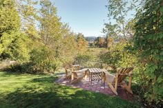John made the two Adirondack style chairs that sit at the bottom of the garden, overlooking green fields. Wind And Rain, Green Fields, Edge Design, Outdoor Furniture Sets, Outdoor Decor, Beautiful Homes, Two By Two, Chairs, Island