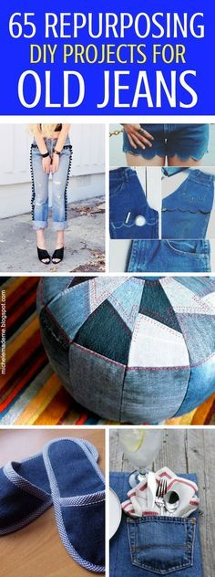 65 Ways To Reuse, Upcycle And Repurpose Old Jeans and turn them into great, usable things to wear or simply to add to your home decor. Trust me, you'll regret getting rid of all your old jeans. Gosh, I wish I hadn't!
