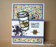 SweetStamps BLOG ; DT Angela- coffee card using Globecraft Piccolo elements.