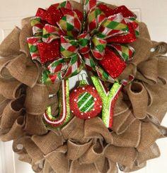 Joy Burlap Wreath