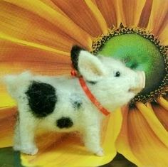 Needle Felted Art by Robin Joy Andreae: A Tiny Potbelly Pig, Unicorn & Another Mousie :-)