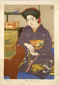 Hashiguchi Goyo (1880-1921)(橋口五葉) - A bijin looking at a bird in a cage.
