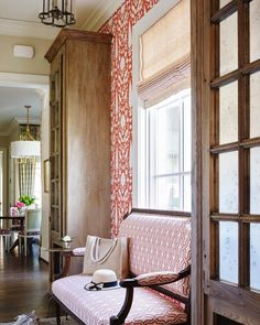 Upholstered Walls, Antique Bench, Cubbies, Mudroom, Kendall, Plum, Living Spaces, Cottage, Doors