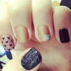 Gel nails black and gold